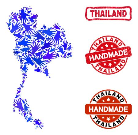 Vector handmade collage of Thailand map and rubber watermarks. Mosaic Thailand map is constructed from scattered blue hands. Rounded and awry red watermarks with corroded rubber texture.