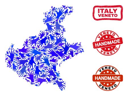 Vector handmade composition of Veneto region map and scratched seals. Mosaic Veneto region map is organized of randomized blue hands. Rounded and wry red seals with scratched rubber texture.