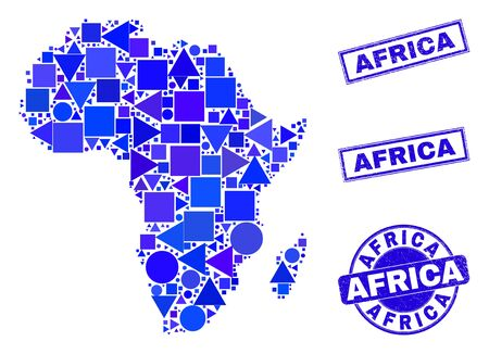 Vector mosaic Africa map. Geographic scheme in blue color tones, and dirty round and rectangle stamps. Abstract mosaic of Africa map designed of spheric, tringle, square geometric spots. Иллюстрация