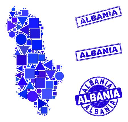 Vector mosaic Albania map. Geographic collage in blue color hues, and rubber round and rectangle seal stamps. Abstract mosaic of Albania map designed of sphere, triangles, square geometric elements.