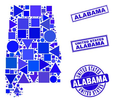 Vector mosaic Alabama State map. Geographic collage in blue color shades, and grunge round and rectangle stamp seals. Abstract collage of Alabama State map combined of round, tringle,