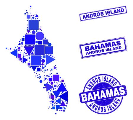 Vector mosaic Andros Island of Bahamas map. Geographic plan in blue color shades, and rubber round and rectangle stamp seals. Abstract mosaic of Andros Island of Bahamas map combined of circle,