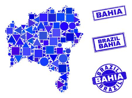 Vector mosaic Bahia State map. Geographic collage in blue color hues, and dirty round and rectangle seals. Abstract mosaic of Bahia State map created of sphere, tringle, square geometric items.