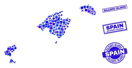 Vector mosaic Balearic Islands map. Geographic collage in blue color tinges, and grunge round and rectangle stamp seals. Abstract mosaic of Balearic Islands map composed of round, tringle,