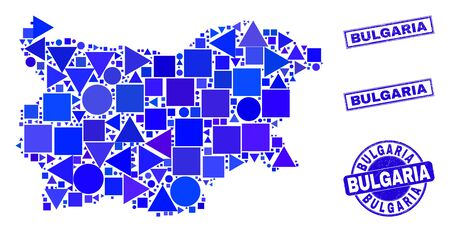 Vector mosaic Bulgaria map. Geographic plan in blue color hues, and dirty round and rectangle stamps. Abstract mosaic of Bulgaria map created of circle, tringle, square geometric spots.