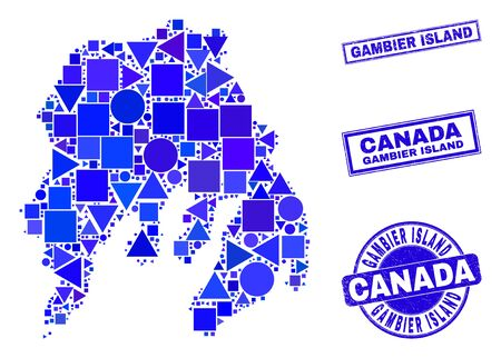 Vector mosaic Gambier Island map. Geographic collage in blue color tones, and corroded round and rectangle seals. Abstract collage of Gambier Island map composed of round, triangles,