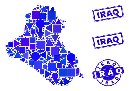 Vector mosaic Iraq map. Geographic collage in blue color tones, and textured round and rectangle stamps. Abstract mosaic of Iraq map composed of round, tringle, square geometric spots.