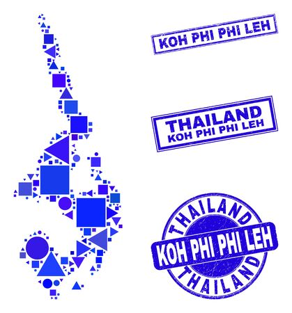 Vector mosaic Koh Phi Leh map. Geographic collage in blue color hues, and textured round and rectangle seals. Abstract collage of Koh Phi Leh map created of round, triangles,