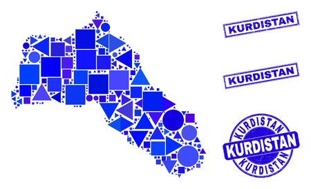 Vector mosaic Kurdistan map. Geographic scheme in blue color tints, and grunge round and rectangle seals. Abstract mosaic of Kurdistan map made of sphere, triangles, square geometric items.