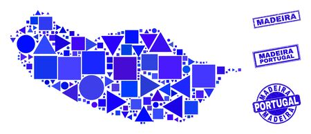 Vector mosaic Madeira map. Geographic plan in blue color hues, and rubber round and rectangle stamp seals. Abstract mosaic of Madeira map created of round, tringle, square geometric elements. 일러스트