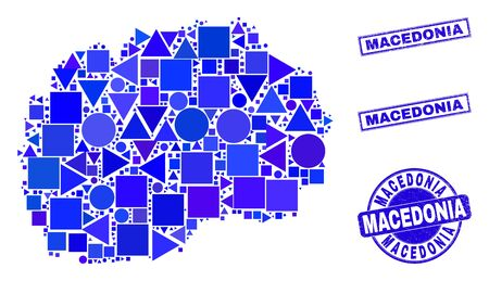 Vector mosaic Macedonia map. Geographic collage in blue color tints, and scratched round and rectangle stamps. Abstract collage of Macedonia map done of round, triangles, square geometric spots.