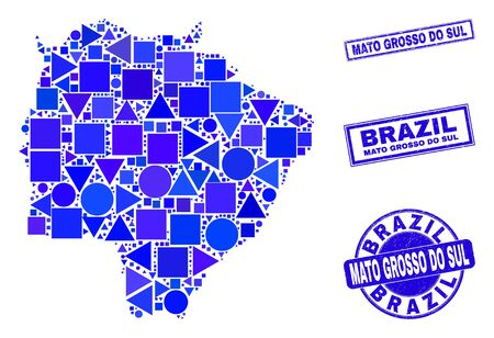 Vector mosaic Mato Grosso do Sul State map. Geographic collage in blue color tinges, and grunge round and rectangle seal stamps. Abstract collage of Mato Grosso do Sul State map constructed of sphere, 일러스트