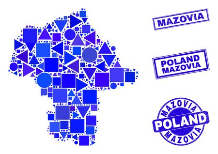 Vector mosaic Mazovia Province map. Geographic scheme in blue color tints, and scratched round and rectangle seals. Abstract mosaic of Mazovia Province map organized of round, tringle,