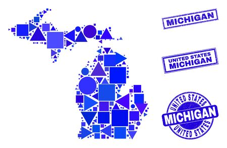 Vector mosaic Michigan State map. Geographic collage in blue color shades, and corroded round and rectangle seals. Abstract mosaic of Michigan State map combined of round, tringle,