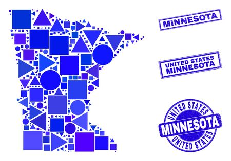 Vector mosaic Minnesota State map. Geographic collage in blue color hues, and unclean round and rectangle seal stamps. Abstract collage of Minnesota State map designed of spheric, triangles,