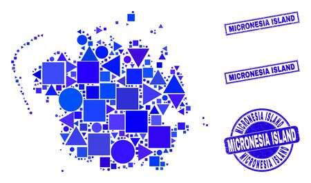 Vector mosaic Micronesia island map. Geographic scheme in blue color tints, and textured round and rectangle seals. Abstract concept of Micronesia island map composed of round, triangles,