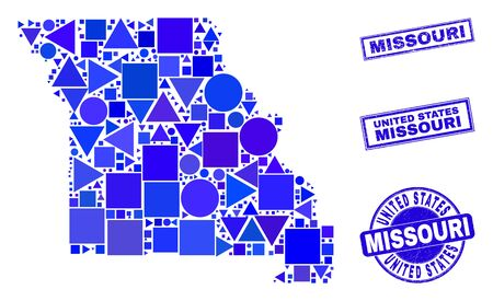 Vector mosaic Missouri State map. Geographic collage in blue color tints, and scratched round and rectangle seals. Abstract mosaic of Missouri State map done of round, triangles, Ilustração