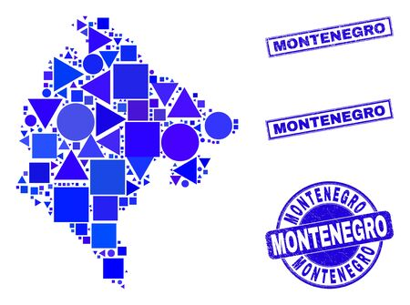 Vector mosaic Montenegro map. Geographic scheme in blue color tones, and dirty round and rectangle seal stamps. Abstract mosaic of Montenegro map composed of round, tringle, square geometric items.