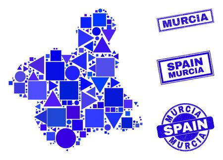 Vector mosaic Murcia Province map. Geographic scheme in blue color hues, and rubber round and rectangle stamps. Abstract mosaic of Murcia Province map designed of sphere, tringle, 일러스트
