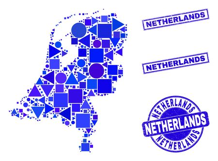 Vector mosaic Netherlands map. Geographic collage in blue color tints, and textured round and rectangle seals. Abstract mosaic of Netherlands map made of round, triangles, square geometric items.
