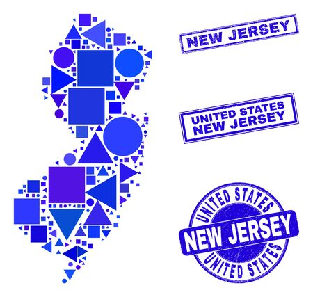 Vector mosaic New Jersey State map. Geographic scheme in blue color hues, and unclean round and rectangle seal stamps. Abstract mosaic of New Jersey State map constructed of spheric, tringle,