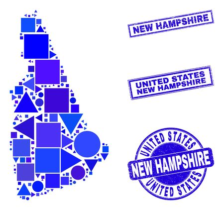 Vector mosaic New Hampshire State map. Geographic plan in blue color shades, and corroded round and rectangle seal stamps. Abstract composition of New Hampshire State map designed of round, triangles,