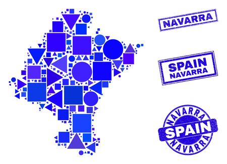 Vector mosaic Navarra Province map. Geographic plan in blue color tones, and dirty round and rectangle stamp seals. Abstract mosaic of Navarra Province map combined of round, tringle,