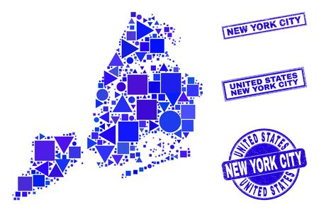 Vector mosaic New York City map. Geographic scheme in blue color shades, and scratched round and rectangle seals. Abstract mosaic of New York City map combined of spheric, triangles, 일러스트
