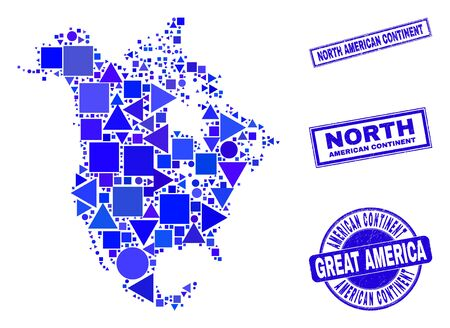 Vector mosaic North America v2 map. Geographic collage in blue color tones, and scratched round and rectangle seal stamps. Abstract collage of North America v2 map combined of spheric, triangles, 일러스트