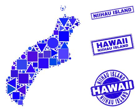Vector mosaic Niihau Island map. Geographic collage in blue color tints, and scratched round and rectangle seals. Abstract collage of Niihau Island map created of round, tringle,