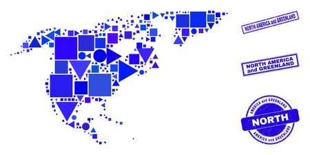 Vector mosaic North America and Greenland map. Geographic collage in blue color hues, and rubber round and rectangle stamp seals. Abstract mosaic of North America and Greenland map made of round, 일러스트