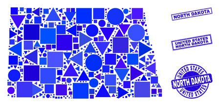 Vector mosaic North Dakota State map. Geographic scheme in blue color tones, and rubber round and rectangle seals. Abstract mosaic of North Dakota State map composed of spheric, triangles, 일러스트