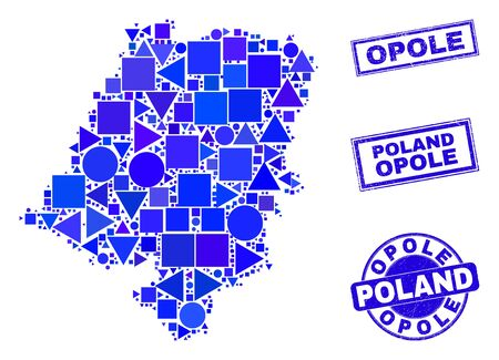 Vector mosaic Opole Voivodeship map. Geographic collage in blue color tones, and rubber round and rectangle seal stamps. Abstract collage of Opole Voivodeship map organized of sphere, tringle,