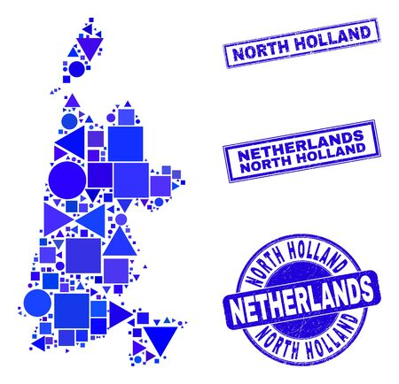Vector mosaic North Holland map. Geographic collage in blue color tinges, and corroded round and rectangle stamp seals. Abstract collage of North Holland map done of round, tringle, Stock Illustratie