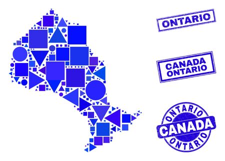 Vector mosaic Ontario Province map. Geographic collage in blue color hues, and grunge round and rectangle seals. Abstract collage of Ontario Province map created of round, triangles,