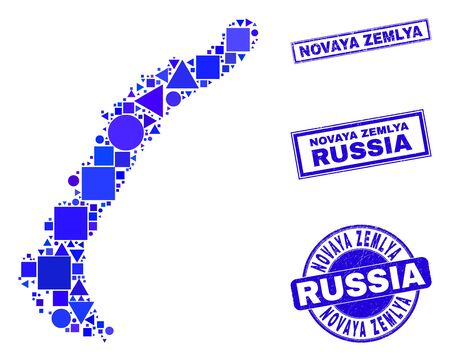 Vector mosaic Novaya Zemlya Islands map. Geographic collage in blue color tones, and rubber round and rectangle stamp seals. Abstract mosaic of Novaya Zemlya Islands map combined of circle, tringle,