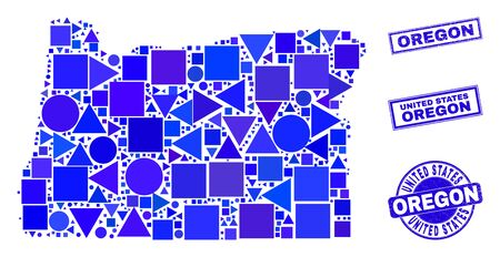 Vector mosaic Oregon State map. Geographic scheme in blue color tints, and scratched round and rectangle seals. Abstract mosaic of Oregon State map composed of round, tringle, square geometric spots.