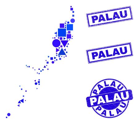 Vector mosaic Palau map. Geographic scheme in blue color hues, and textured round and rectangle seal stamps. Abstract composition of Palau map constructed of round, tringle, square geometric spots. 일러스트
