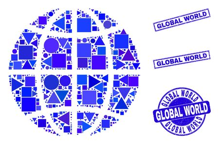 Vector mosaic planet globe. Geographic plan in blue color tints, and grunge round and rectangle stamp seals. Abstract mosaic of planet globe combined of round, triangles, square geometric items. Ilustracja