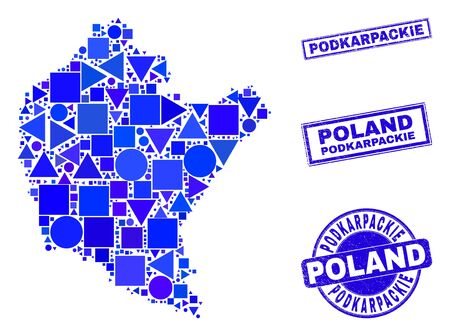 Vector mosaic Podkarpackie Voivodeship map. Geographic collage in blue color tints, and rubber round and rectangle seal stamps. Abstract collage of Podkarpackie Voivodeship map created of sphere, 일러스트
