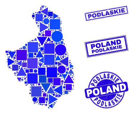Vector mosaic Podlaskie Voivodeship map. Geographic plan in blue color tones, and scratched round and rectangle stamp seals. Abstract collage of Podlaskie Voivodeship map designed of round, triangles,