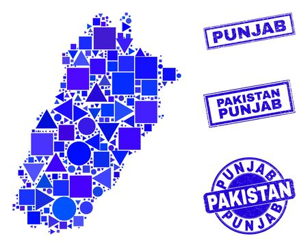 Vector mosaic Punjab Province map. Geographic scheme in blue color tinges, and corroded round and rectangle seal stamps. Abstract mosaic of Punjab Province map done of round, tringle,