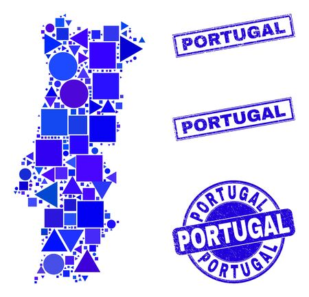 Vector mosaic Portugal map. Geographic plan in blue color tones, and textured round and rectangle seals. Abstract mosaic of Portugal map designed of round, tringle, square geometric elements.