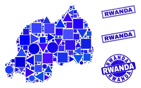 Vector mosaic Rwanda map. Geographic scheme in blue color tinges, and corroded round and rectangle seals. Abstract mosaic of Rwanda map designed of round, tringle, square geometric items.