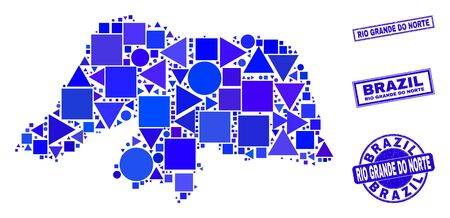 Vector mosaic Rio Grande do Norte State map. Geographic collage in blue color tints, and textured round and rectangle stamp seals. Abstract mosaic of Rio Grande do Norte State map created of spheric,