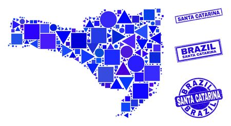 Vector mosaic Santa Catarina State map. Geographic scheme in blue color tints, and unclean round and rectangle seal stamps. Abstract mosaic of Santa Catarina State map combined of round, triangles,