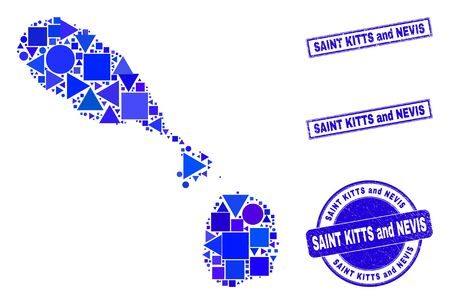 Vector mosaic Saint Kitts and Nevis map. Geographic collage in blue color hues, and dirty round and rectangle stamps. Abstract composition of Saint Kitts and Nevis map made of round, tringle,