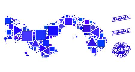 Vector mosaic Panama map. Geographic plan in blue color tones, and corroded round and rectangle stamp seals. Abstract composition of Panama map composed of round, triangles, square geometric items. 일러스트