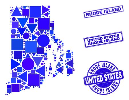 Vector mosaic Rhode Island State map. Geographic plan in blue color tinges, and scratched round and rectangle seals. Abstract mosaic of Rhode Island State map designed of sphere, tringle, 일러스트