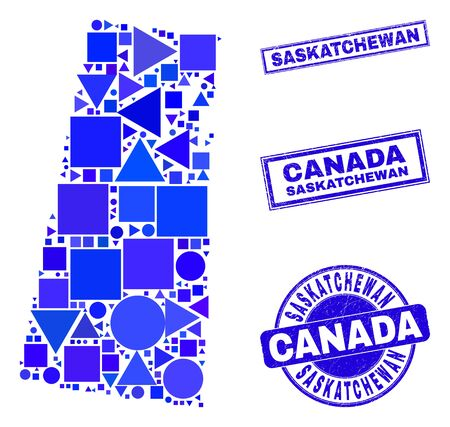 Vector mosaic Saskatchewan Province map. Geographic scheme in blue color hues, and corroded round and rectangle stamp seals. Abstract collage of Saskatchewan Province map composed of round, tringle, Ilustracja